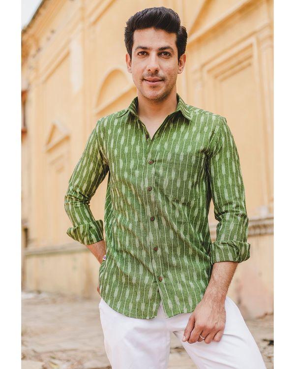 Leaf green striped ikat shirt 1