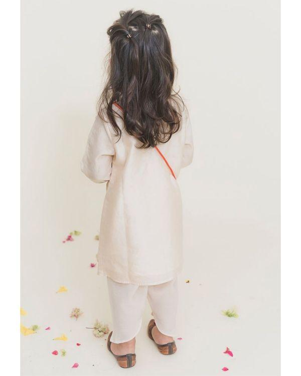 White yoke kurta with dhoti pants - Set of Two 1
