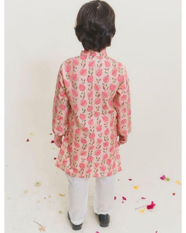 Peach block printed kurta with pants - Set of Two 2