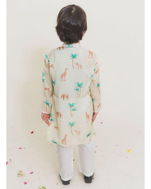 Cream jungle safari printed kurta with pants - Set of Two 2