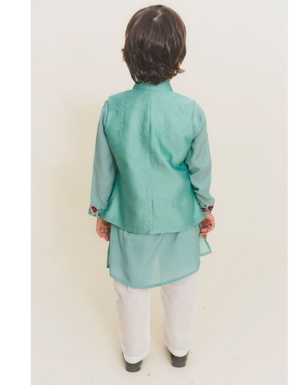 Aqua blue kurta with pants and jacket - Set of Three 1