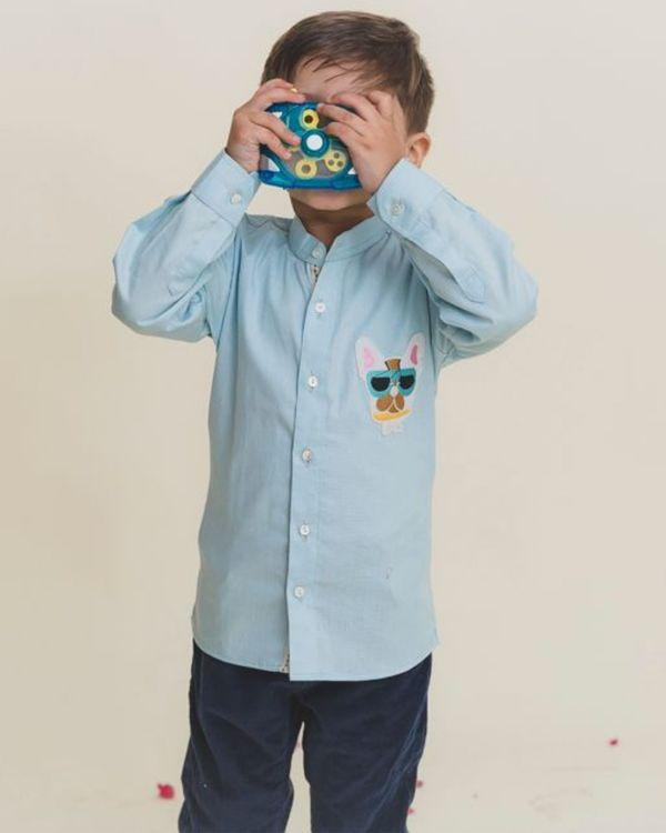 Blue cartoon shirt 1