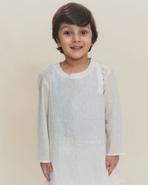 White printed side open kurta 1