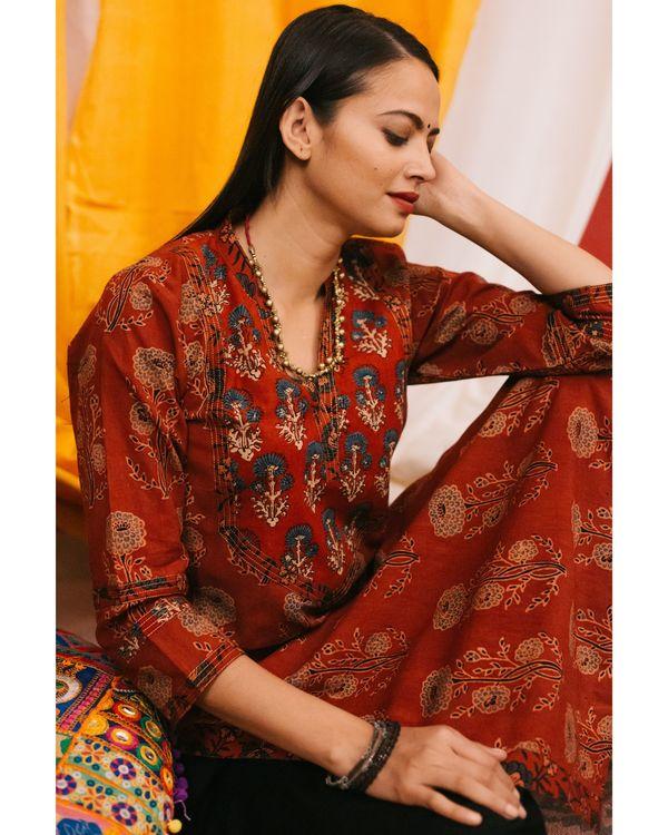 Red ajrakh boota kurta with yoke detailing and black palazzos - set of 2 1