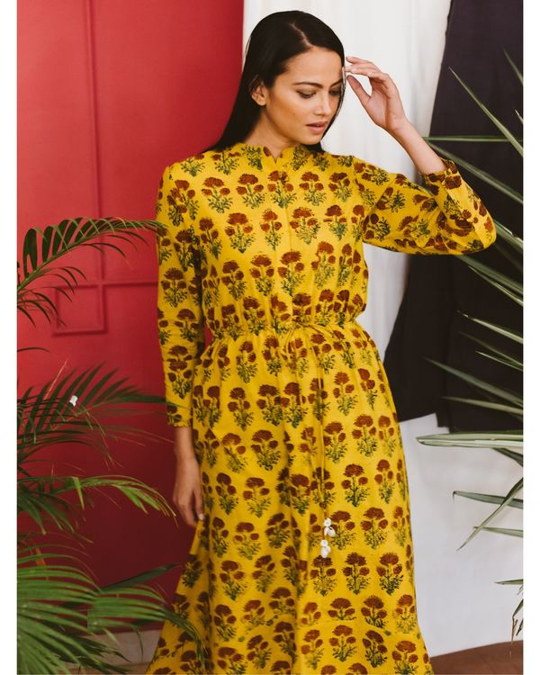 Yellow ajrakh dress 1