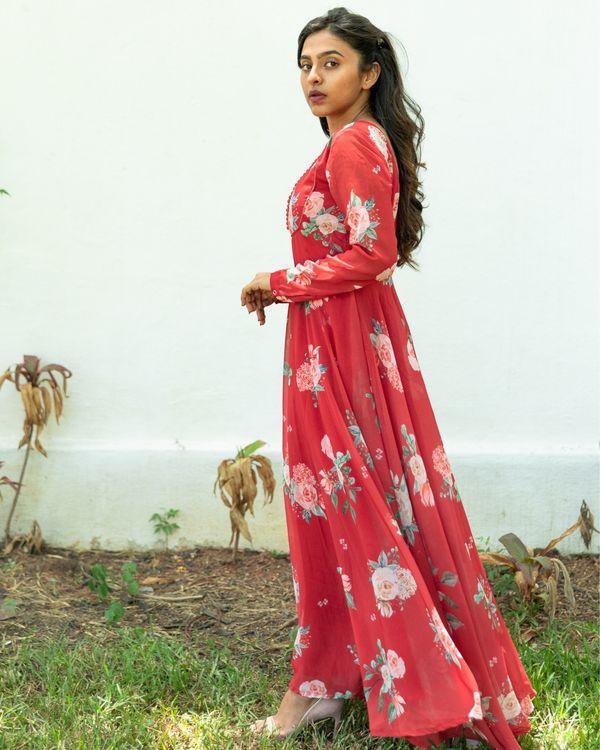 Red floral georgette dress 2