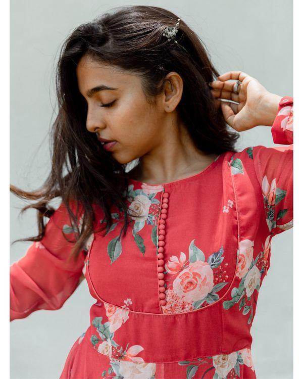 Red floral georgette dress 1