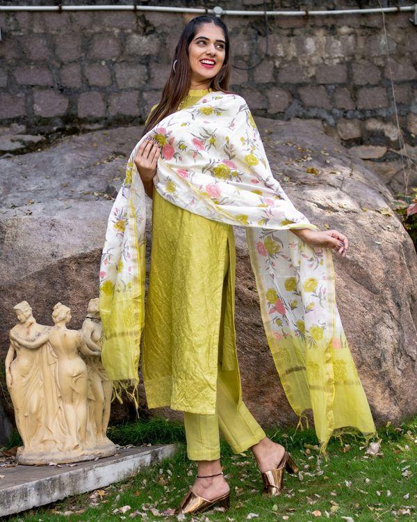 Lemon embroidered kurta set with dupatta - set of three 1