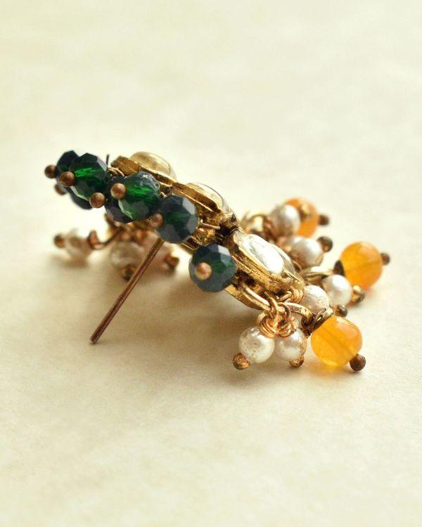 Honeycomb orange and green beaded earrings 2