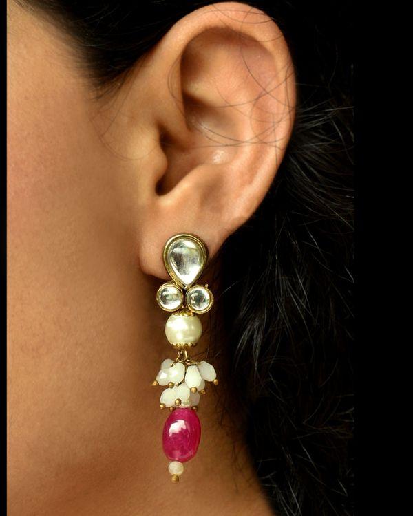 Red stone drop earrings 2