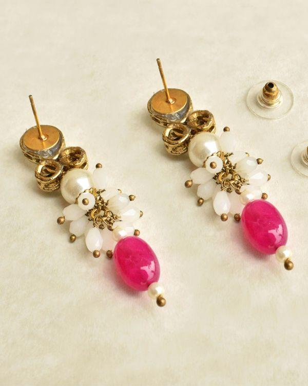 Red stone drop earrings 1