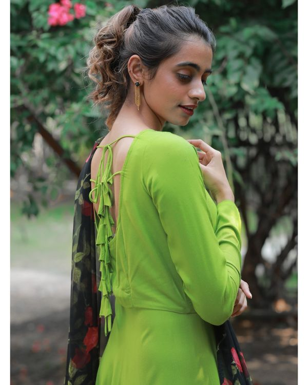 Pear green dress with floral dupatta 3