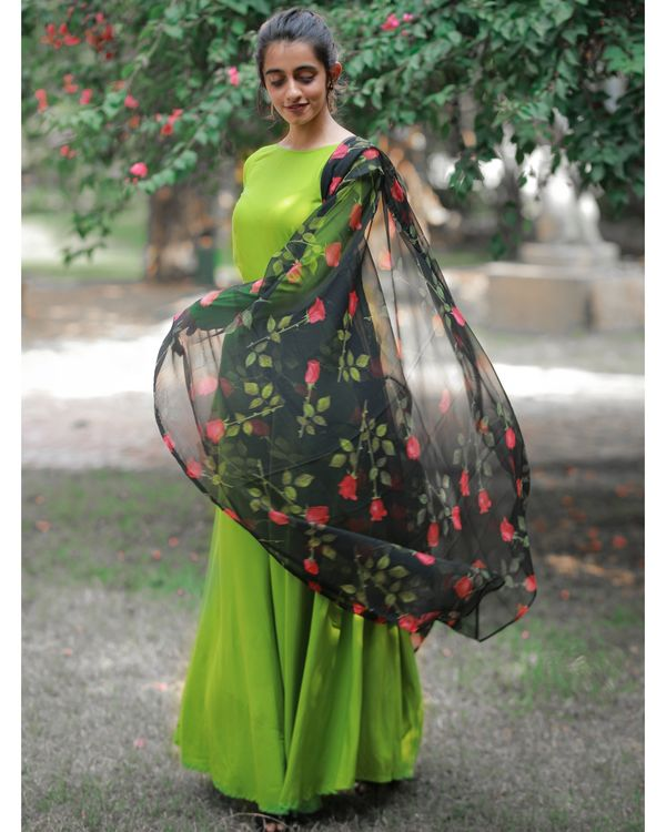 Pear green dress with floral dupatta 2