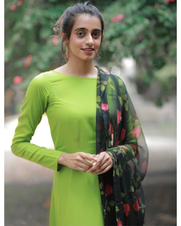 Pear green dress with floral dupatta 1