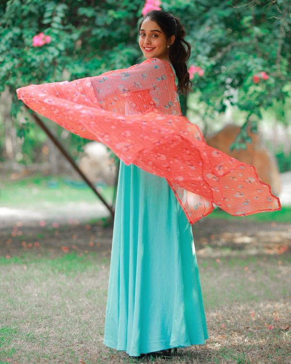 Sky button dress with dupatta 3