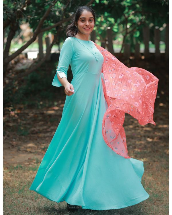 Sky button dress with dupatta 2