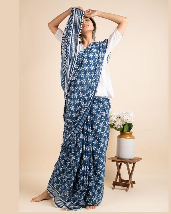 Indigo cotton lace sari with attached blouse piece 3