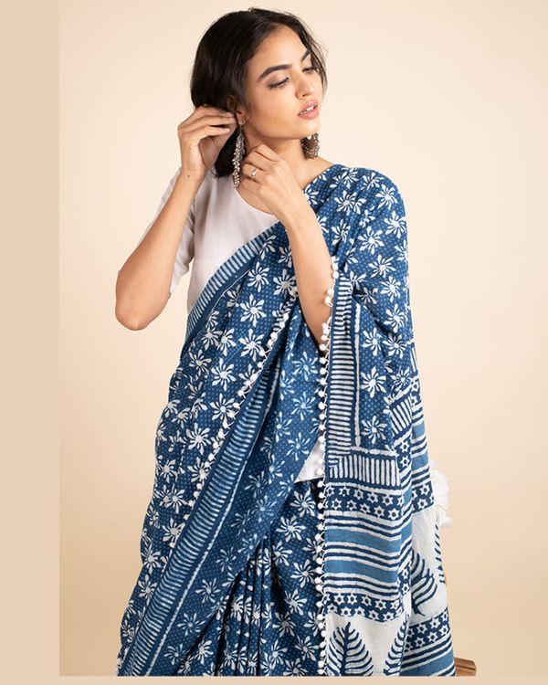 Indigo cotton lace sari with attached blouse piece 1