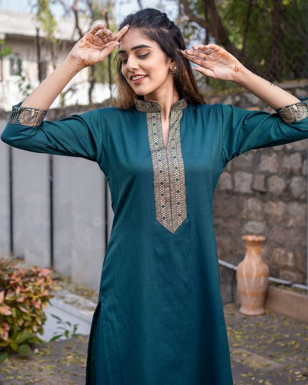 Teal green kurta set - set of two 1