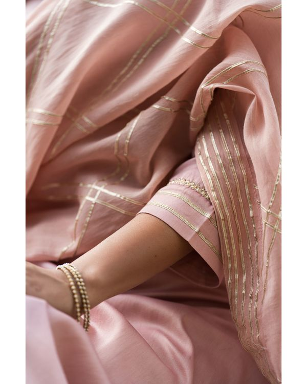 Earthy pink gota work suit set with dupatta - set of three 3