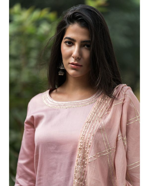 Earthy pink gota work suit set with dupatta - set of three 2