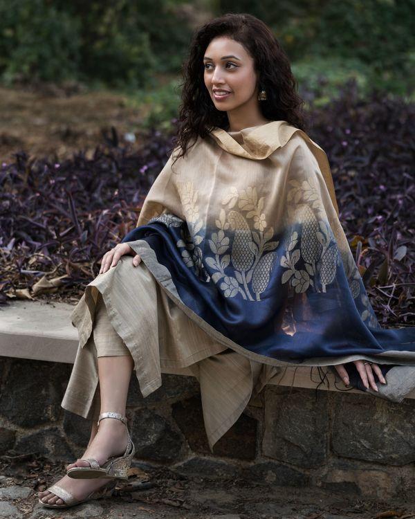 Fawn cotton silk set with chanderi benarasi dupatta - set of three 3