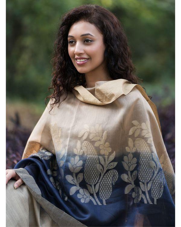 Fawn cotton silk set with chanderi benarasi dupatta - set of three 2