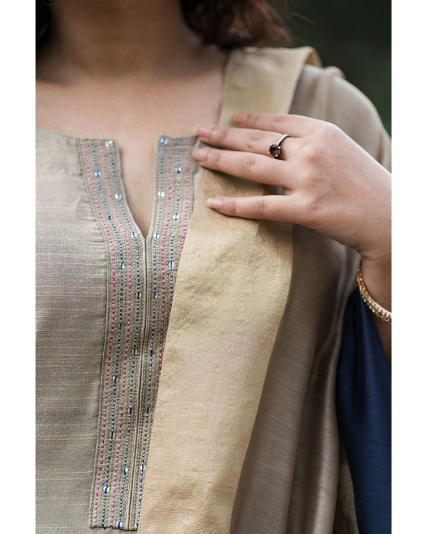 Fawn cotton silk set with chanderi benarasi dupatta - set of three 1
