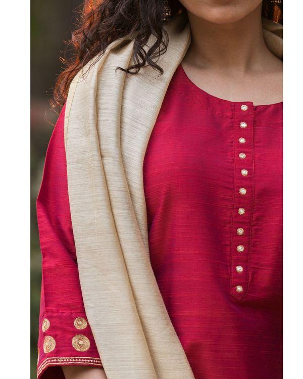 Magenta cotton silk suit set with beige moga silk dupatta - set of three 3