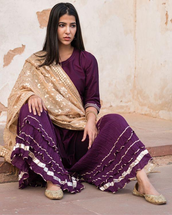 Purple sharara set with gota patti chanderi dupatta - set of three 1