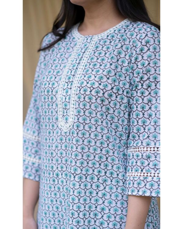 Teal green floral tunic set - set of two 1