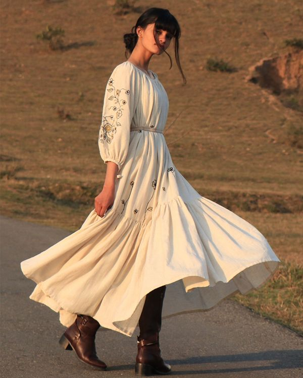 Off white tiered dress 3