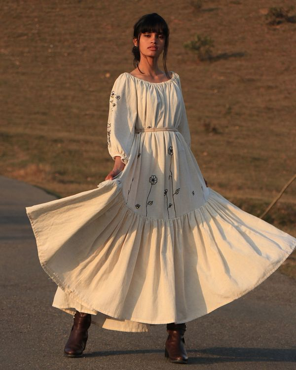 Off white tiered dress 2