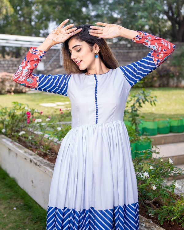 Patola printed gathered dress with dupatta - set of two 3