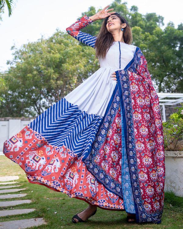 Patola printed gathered dress with dupatta - set of two 2