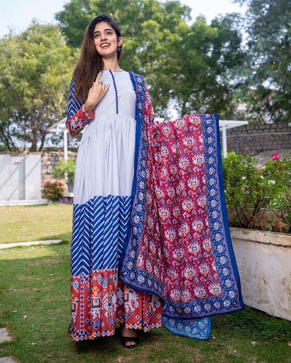 Patola printed gathered dress with dupatta - set of two 1