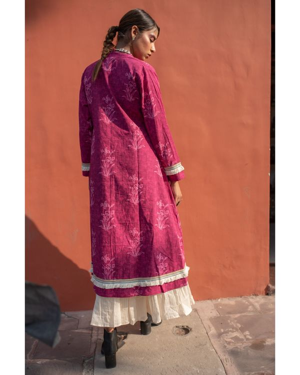 Magenta cape with off white spaghetti dress - set of two 4