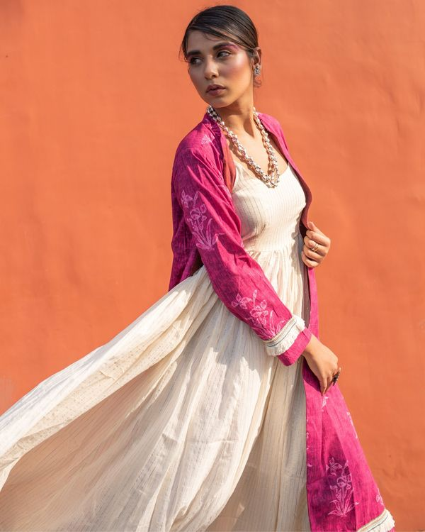 Magenta cape with off white spaghetti dress - set of two 1