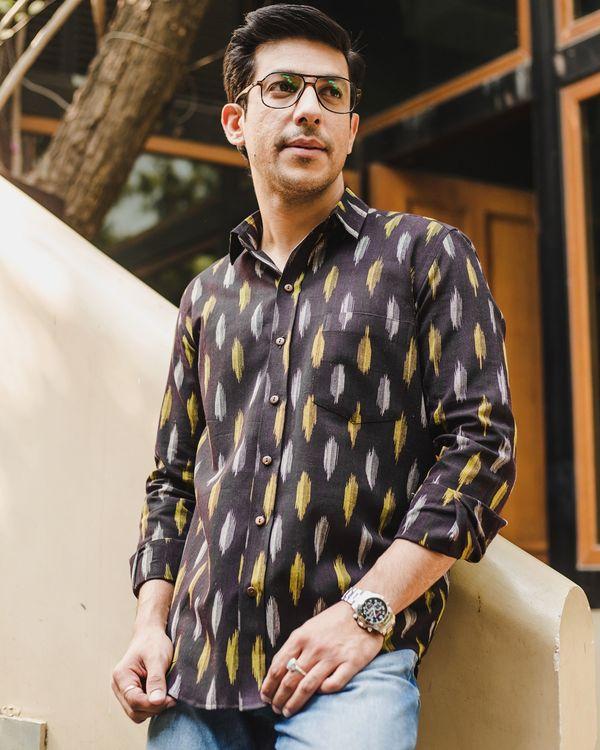 Black ikat weave shirt 2
