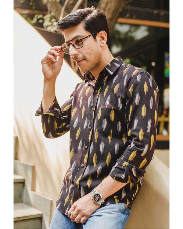 Black ikat weave shirt 1