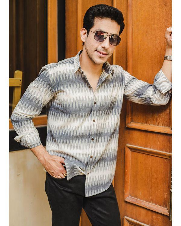 Grey and white ikat woven shirt 1