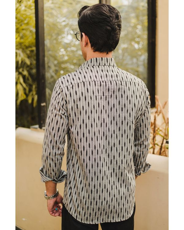 Grey black stripes ikat shirt 2