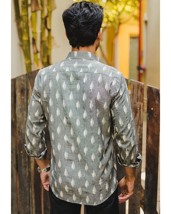 Grey ikat weave shirt 2