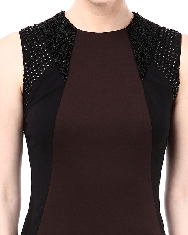 Leather detailed colorblock fitted dress 1
