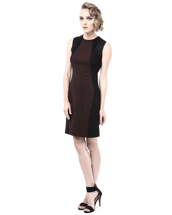 Leather detailed colorblock fitted dress 3