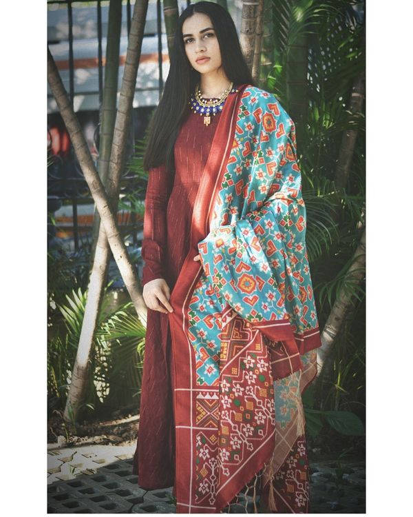 Maroon flared dress with light blue dupatta - set of two 1