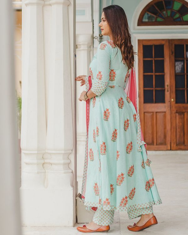 Pastel blue mughal dress set with dupatta - set of three 3
