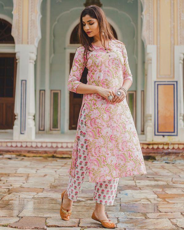 Pink floral mughal print set - set of two 3