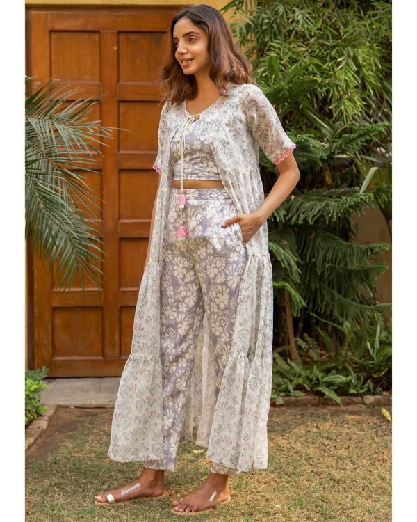 Botanic co- co-ord set with an overlay - set of three 2