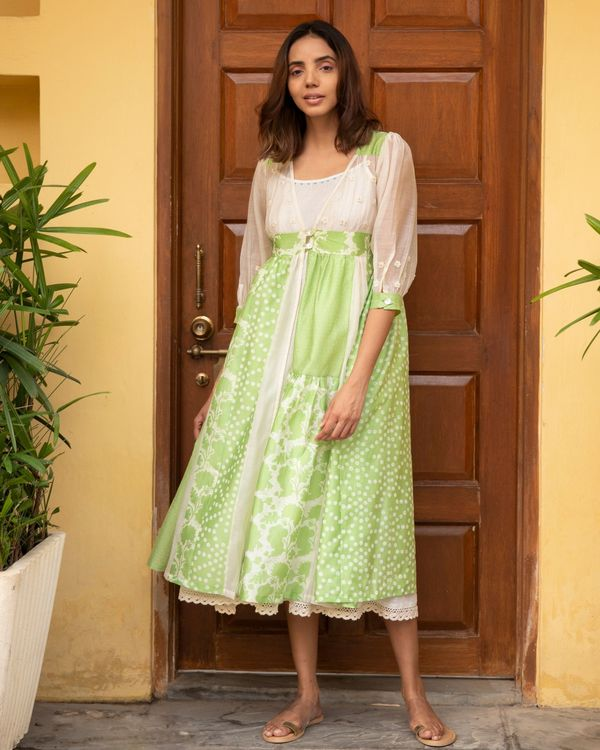 Lime kali dress with a slip - set of two 3
